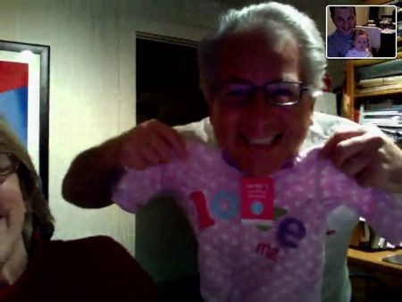 I think pink looks nice on Grandpa Mike!