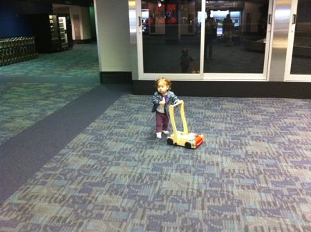 Baggage claim area is clear, Daddy. No Mommy to be found.
