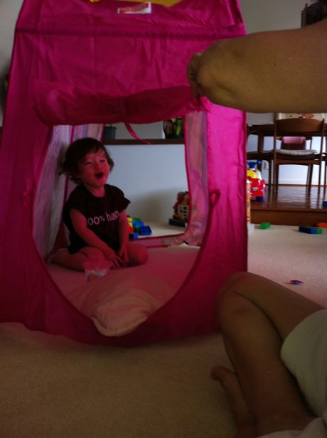 Back at home Papa Cal helped me setup a pink tent in the living room. Let me repeat that: I have a PINK TENT IN THE LIVING ROOM! So cool.