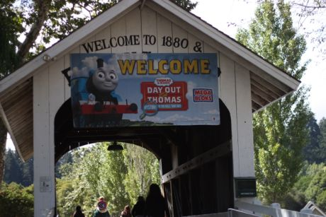 Once a summer the Roaring Camp sets up Thomas the Train - and the kids come from all over!