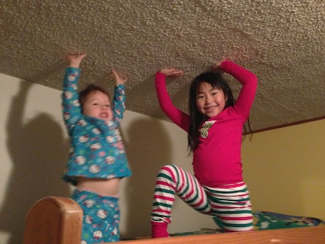 The house has bunkbeds - Maile had a grand plan that she was going to sleep with her cousins in the bunk beds. This lasted for about 10 minutes. Maile is now sleeping in our room :)