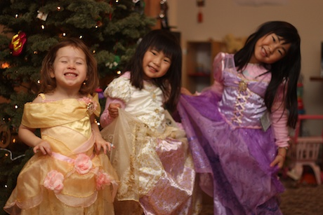 """Grandma and Papa made sure that Maile, Katie and Emily will arrive at Disney in style with their very own Disney princess dresses. I'm told that Maile is wearing the """"Belle"""" dress - in fact, Maile has told me that, many, many times."""