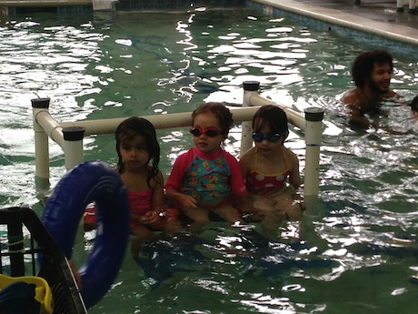 Our little swimmer getting ready for the next part of her class...