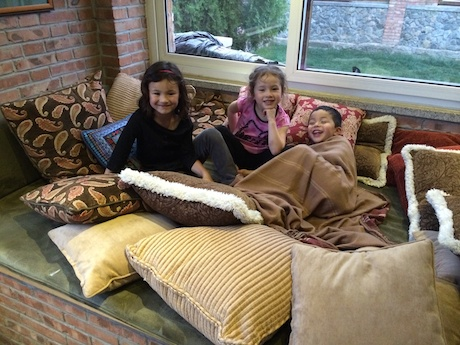 The original plan was all three kids were going to sleep on this big couch bed - good plan in theory, but when game time arrived Maile wimped out :)