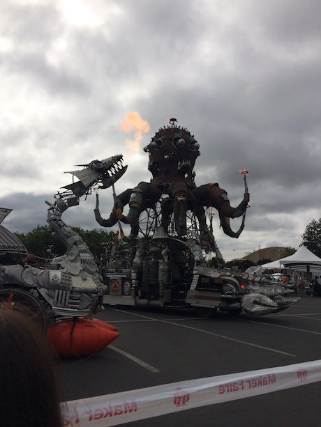 At the entrance was this huge fire breathing dragon/octopus robot contraption thing. It was cool...