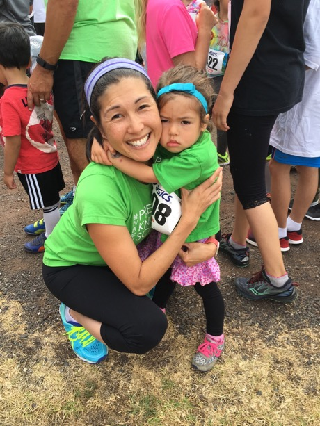 Lauren had a few pre-race jitters, but good thing Mommy was there...