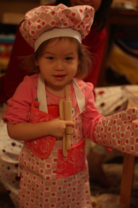 Maile received a lot of wonderful presents, but so far the chef gear from Auntie Elyssa is the big winner - she's barely taken it off since she opened it. Which is fine by us, because she's super cute in it and I think it's raised the level on her wood grilled cheese...