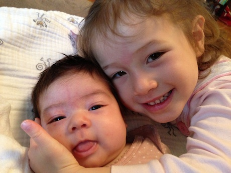 Lauren and Maile (10 weeks and 3.5 respectively)... ultimate love!