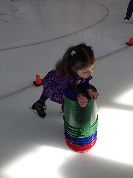 These buckets are genius - definitely don't recall that when I was little, but they worked out great - gave Maile lots of confidence on the ice to explore a bit on her own...
