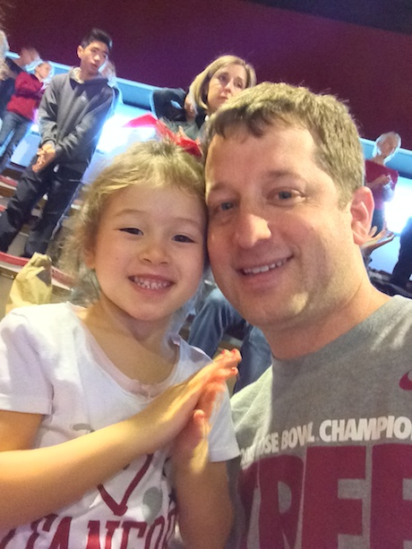 Maile and Daddy all ready to cheer on the Cardinal at Maile's first basketball game...
