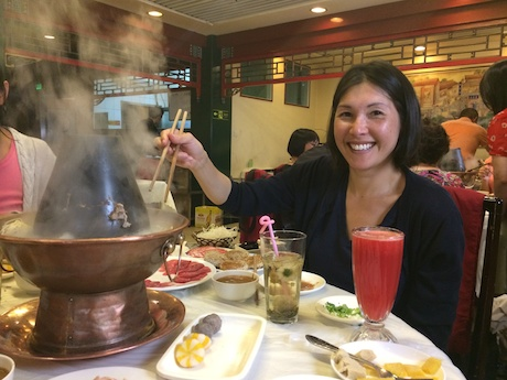 Mommy enjoying some Mongolian Hot Pot...