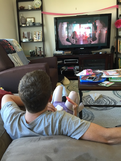 Maile and I settle in for her first Star Wars viewing - complete with popsicle bribe.
