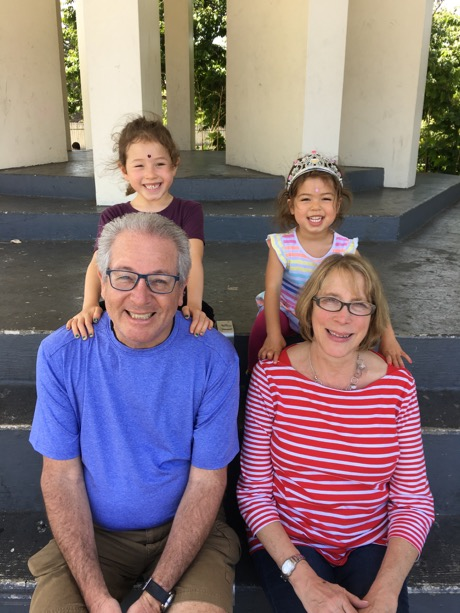 Grandma and Papa Boston with Maile (almost 7) and Lauren (3.5)